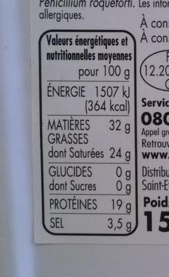 Roquefort - Appellation d'Origine Protégée - Informations nutritionnelles - fr