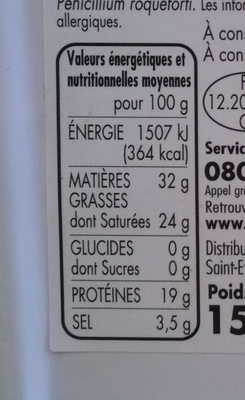 Roquefort - Appellation d'Origine Protégée - Nährwertangaben - fr