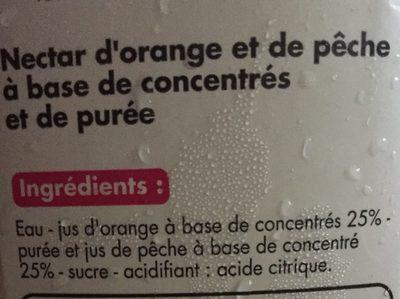 Nectar orange-pêche à base de concentrés et de purée - Ingrediënten - fr