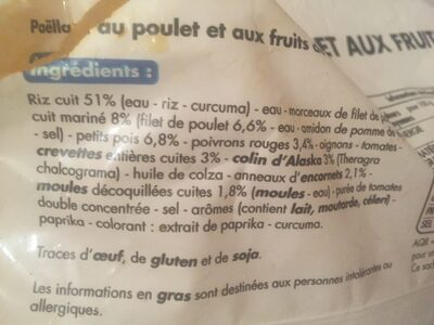 Paëlla au poulet et aux fruits de mer - Ingredients - fr