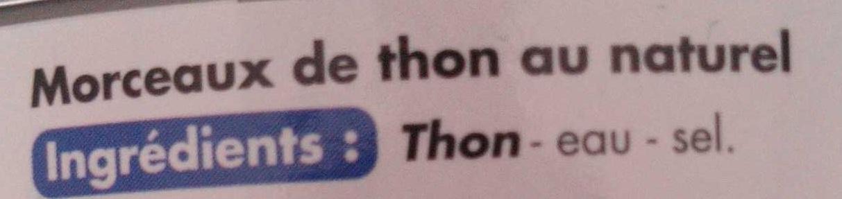 Morceaux de thon au naturel - Ingrédients - fr