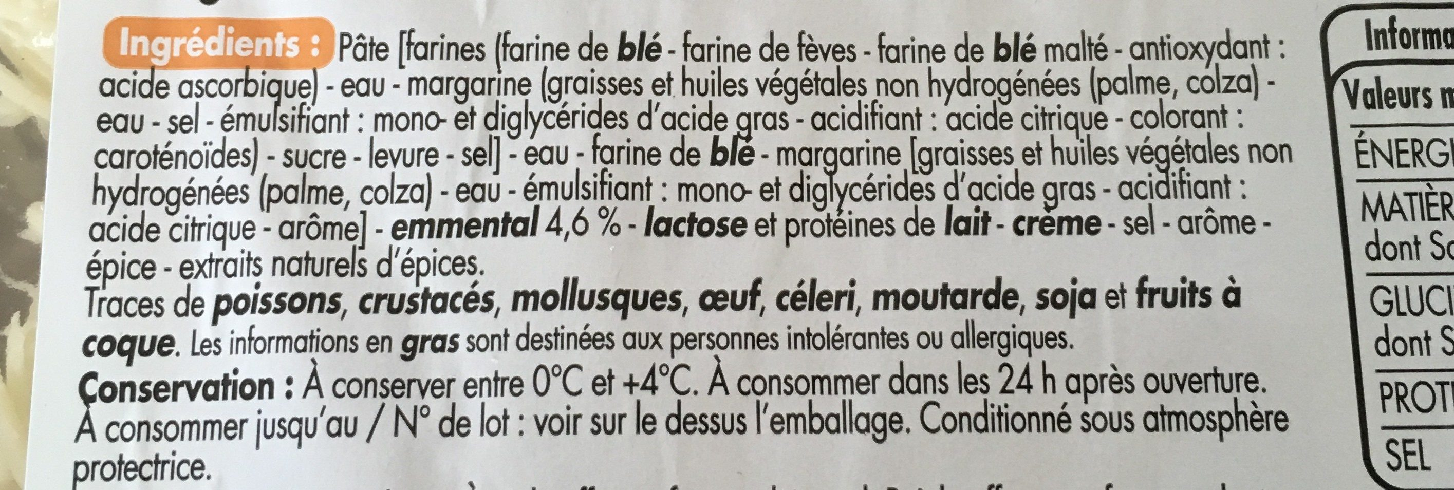 4 ROULES AU FROMAGE - Ingredients