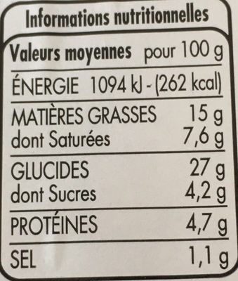 4 ROULES AU FROMAGE - Nutrition facts