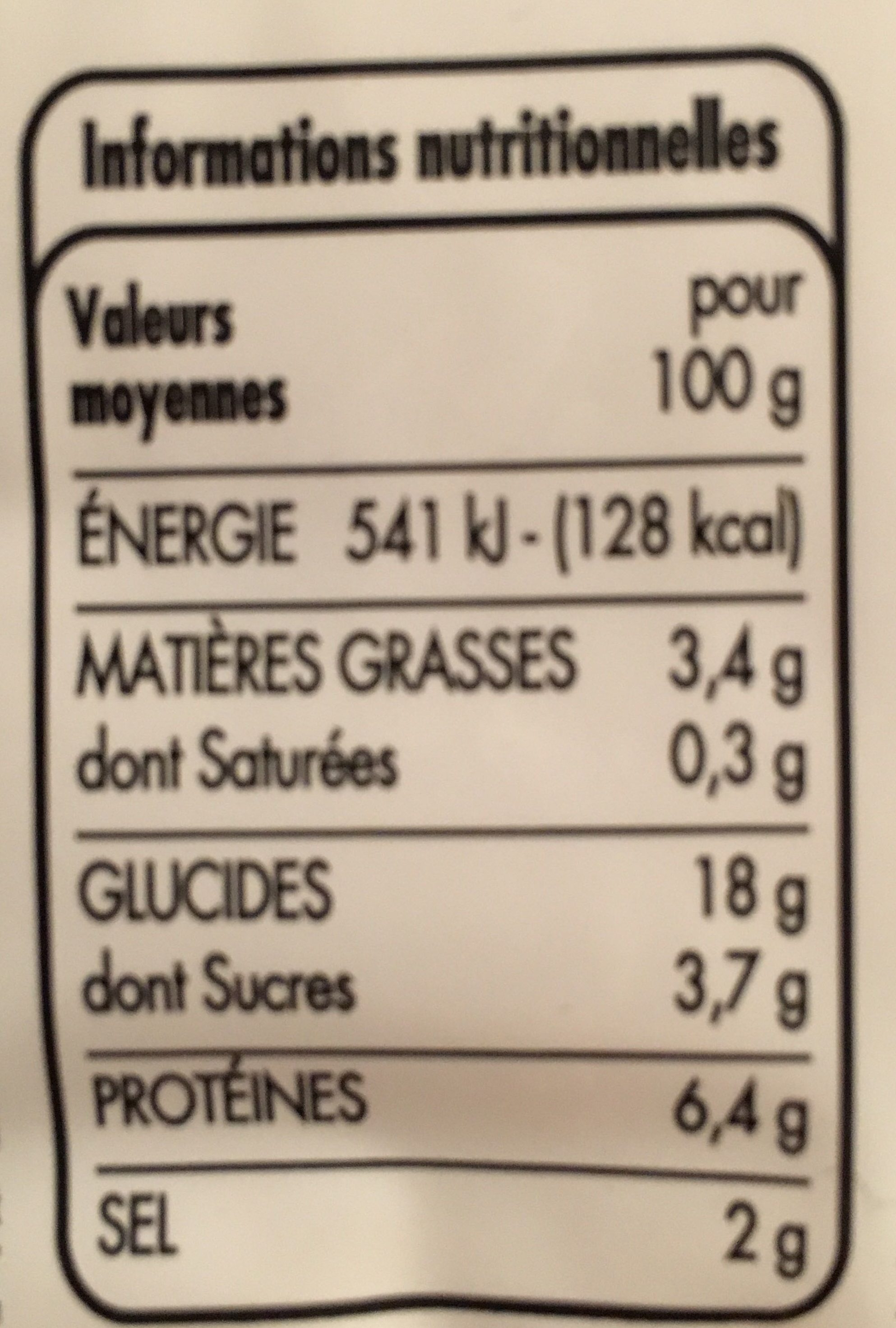 Bâtonnets saveur crabe - Informations nutritionnelles