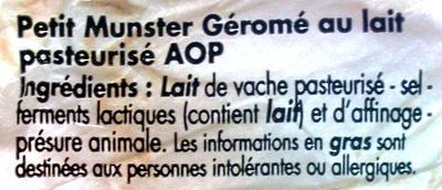 Munster-Géromé Appellation d'Origine Protégée - Ingrédients - fr