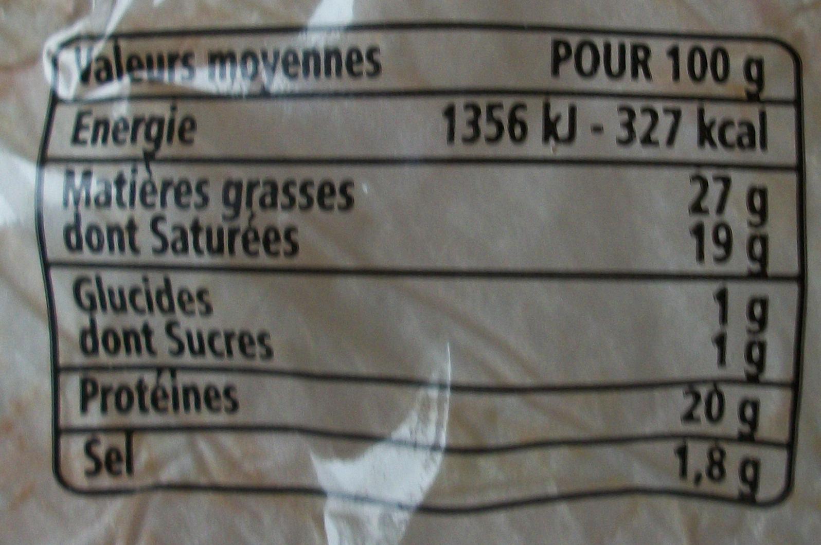 Munster-Géromé Appellation d'Origine Protégée - Informations nutritionnelles - fr