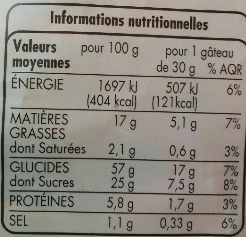 Mini gâteaux aux pépites de chocolat - Nutrition facts - fr