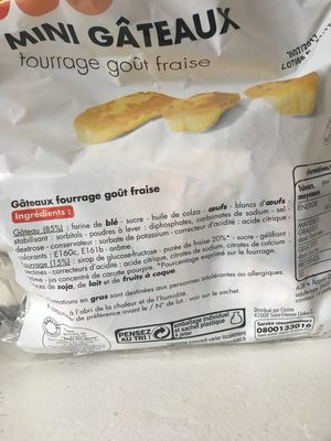 Mini gâteaux fourrage goût fraise - Ingrédients - fr