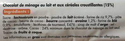 Chocolat de ménage au lait et aux céréales croustillantes - Ingredients