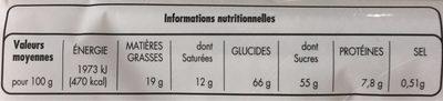 Chocolat de ménage au lait et aux céréales croustillantes - Nutrition facts