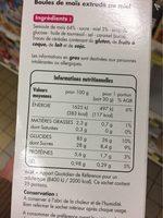 Boules de maïs au miel - Voedingswaarden - fr