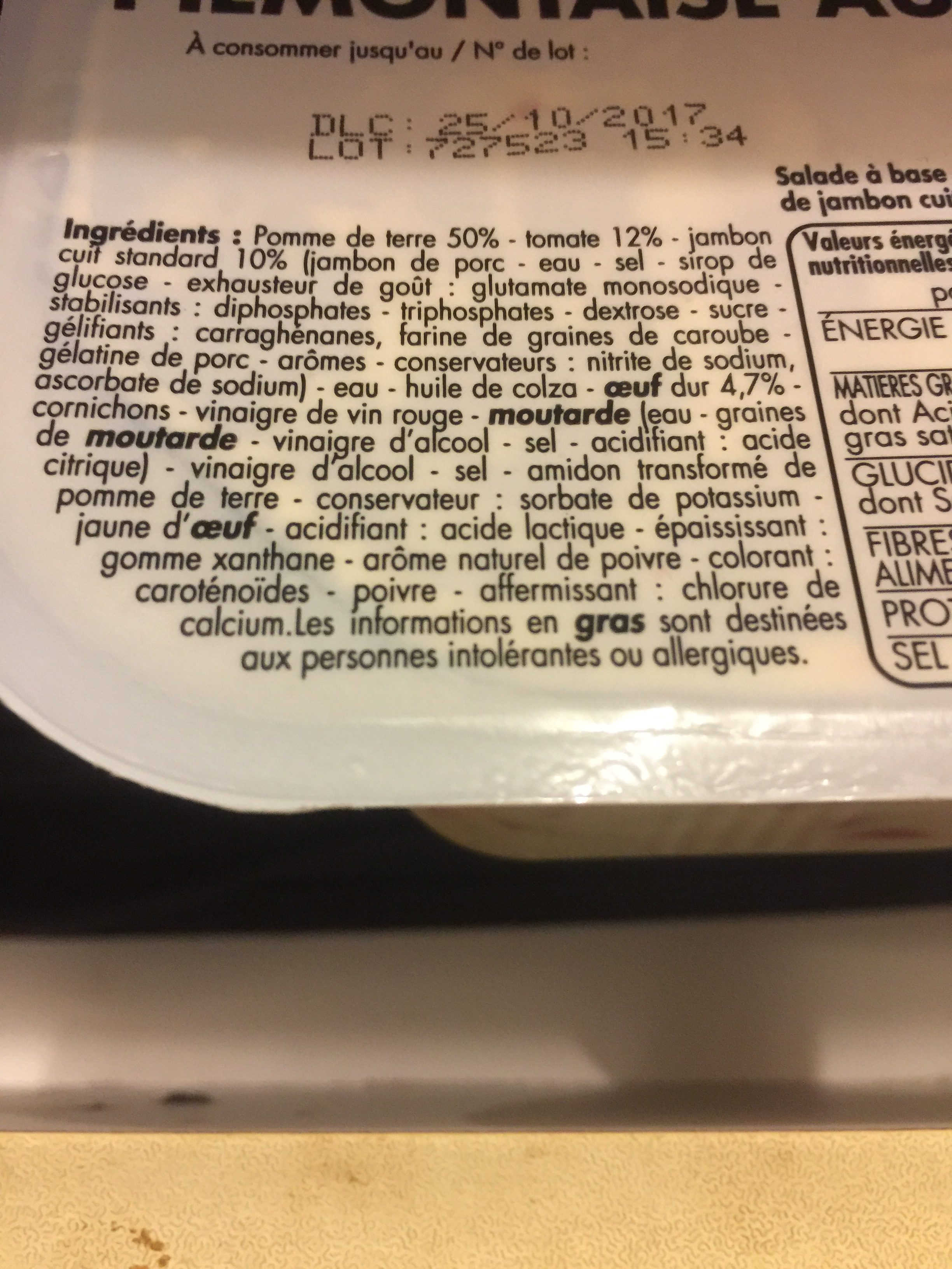 Piemontaise au jambon - Ingrediënten - fr