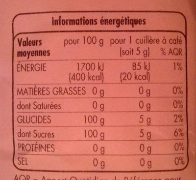 Sucre en poudre 1kg Tous les jours - Voedingswaarden - fr