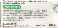Bûche aux laits de vache et de chèvre - Ingrédients - fr
