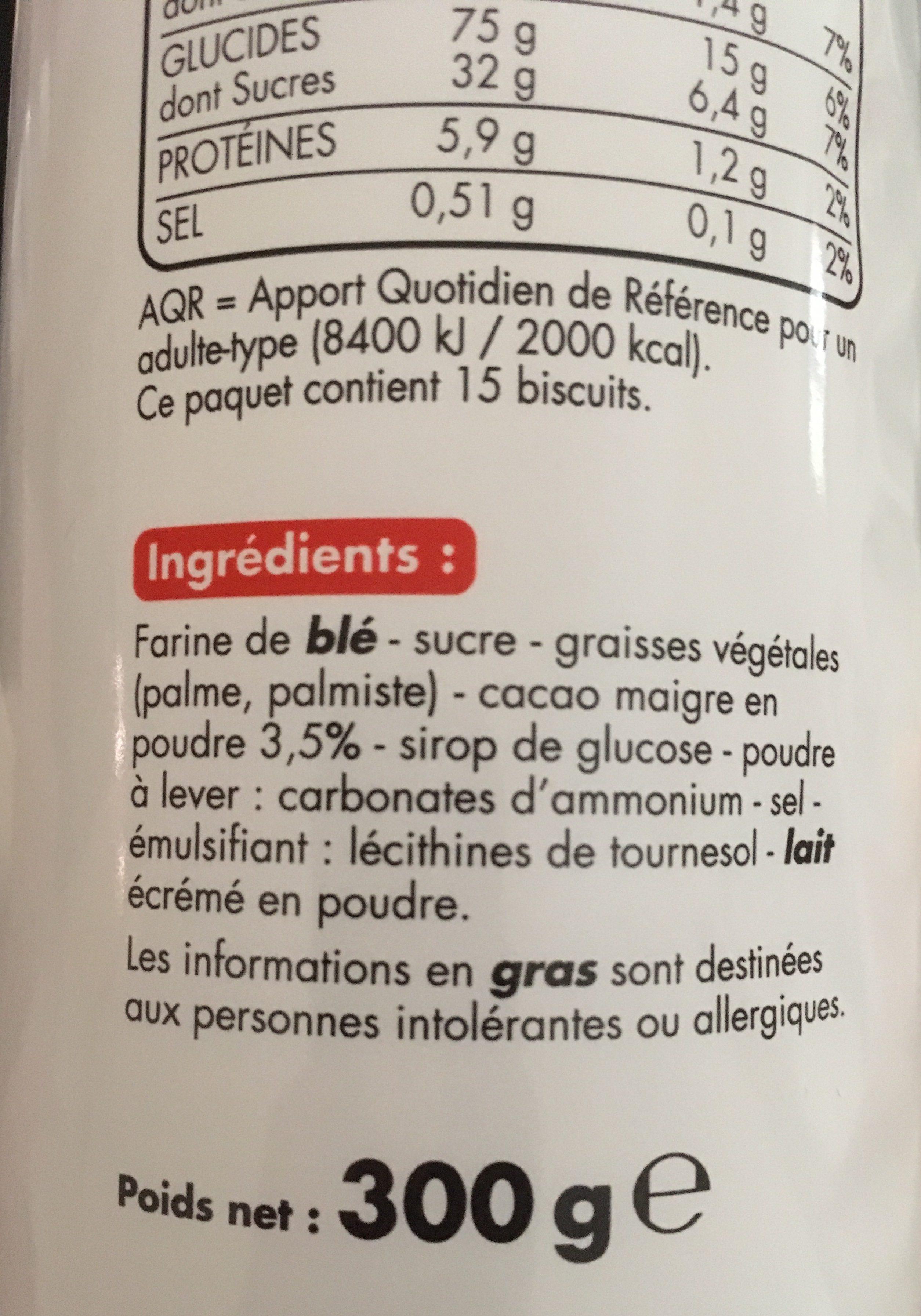 Goûters ronds parfum cacao - Ingredients