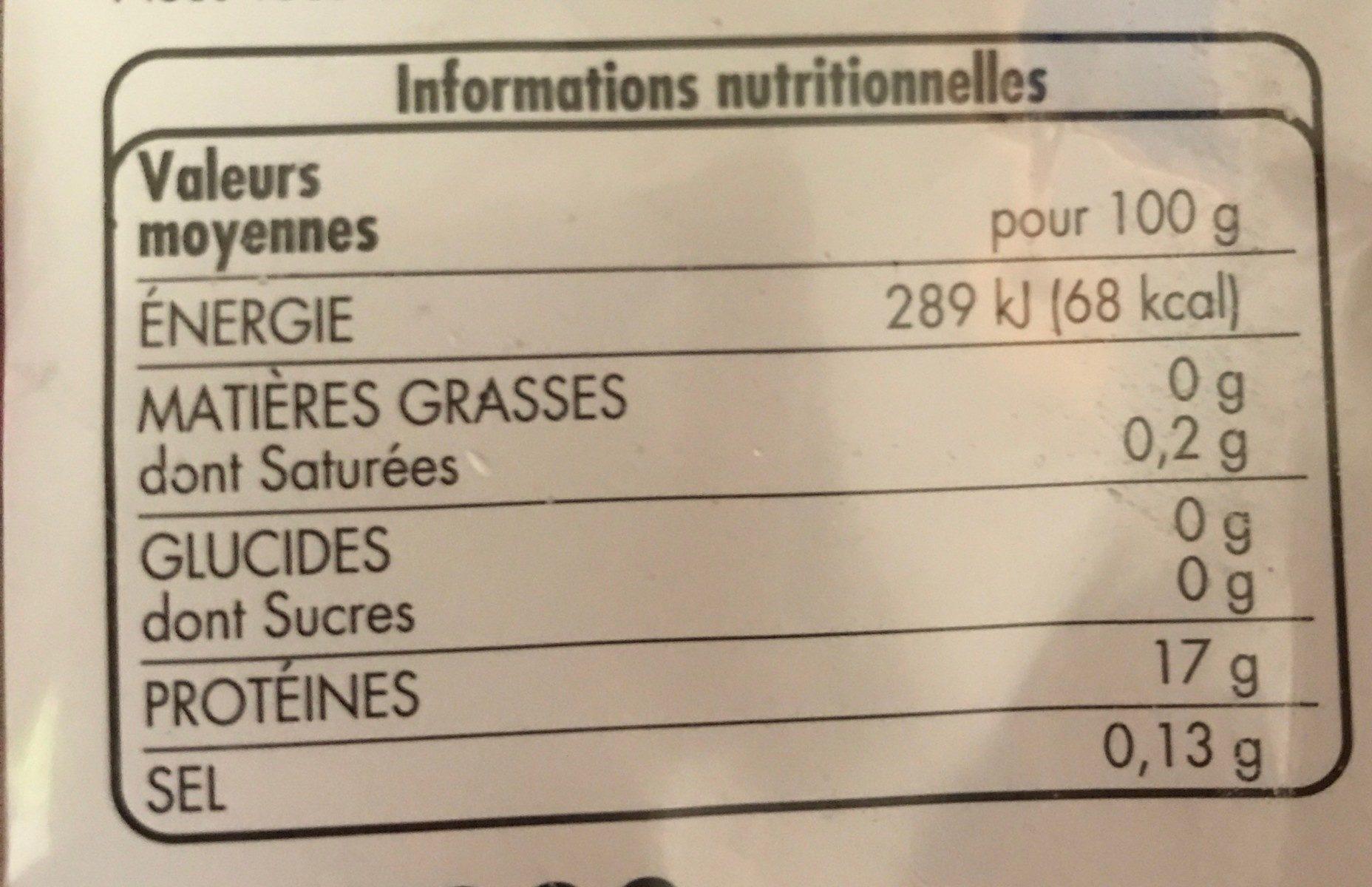 Filets de cabillaud (gadus macrocephalus) surgelés sachet - Nutrition facts