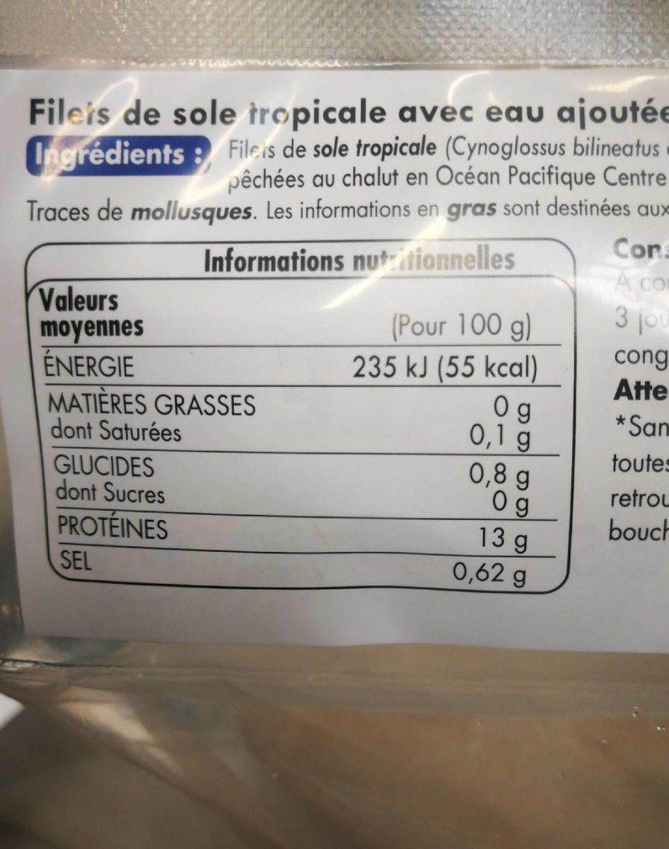 Filets de sole tropicale avec eau ajoutée surgelés sachet + rider - Nutrition facts - fr