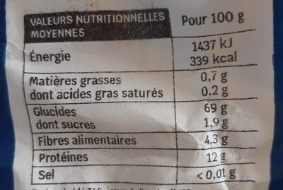 Farine de blé T 65 - Nutrition facts - fr