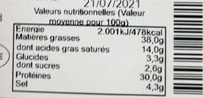 Saucisson casa andaluz - Informations nutritionnelles - fr
