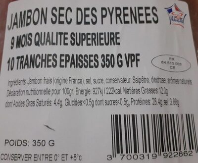 Jambon sec des Pyrénées - Valori nutrizionali - fr