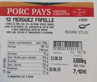 Merguez porc Porcidou - Informations nutritionnelles - fr
