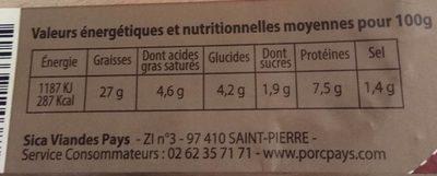 Mousse de foie au cognac et champignon noir - Informations nutritionnelles