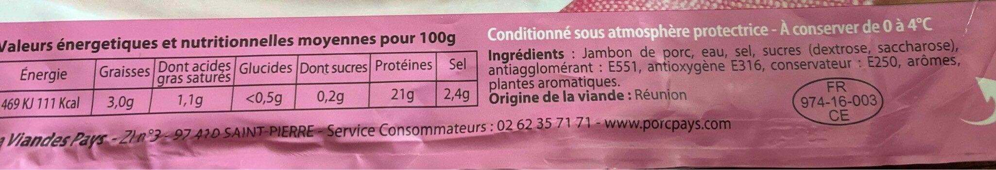 Jambon Supérieur sans Couenne - Informations nutritionnelles - fr