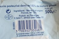 Beurre Demi Sel 500G Fabriqué En Bretagne - Ingrediënten