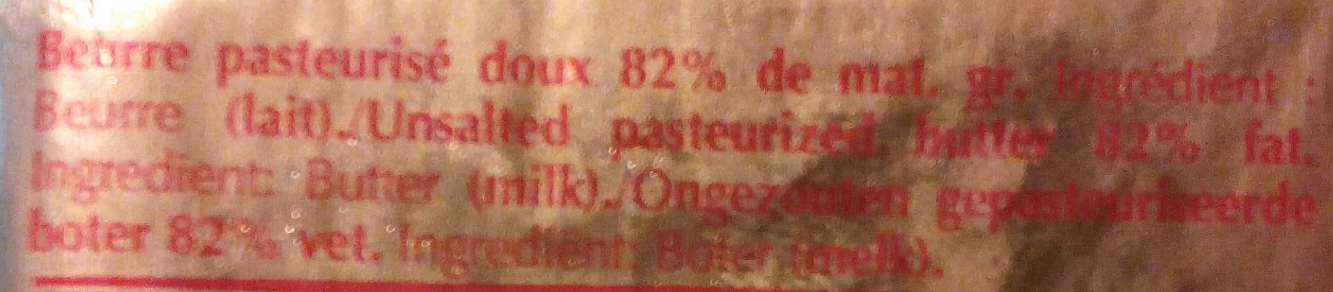 Beurre pasteurisé Doux - Ingrediënten
