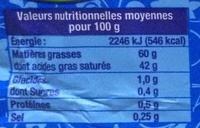 Babette Fine Saveur 60% Moulé Doux - Informations nutritionnelles