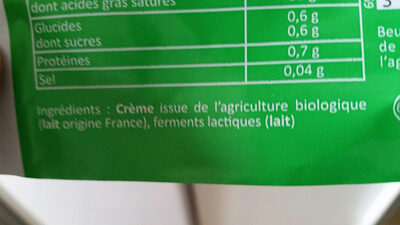 Beurre Bio doux - Ingrediënten - fr