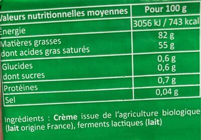 Beurre Bio doux - Voedingswaarden - fr