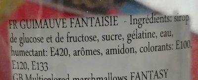 Guimauves Multicolores - Ingredients