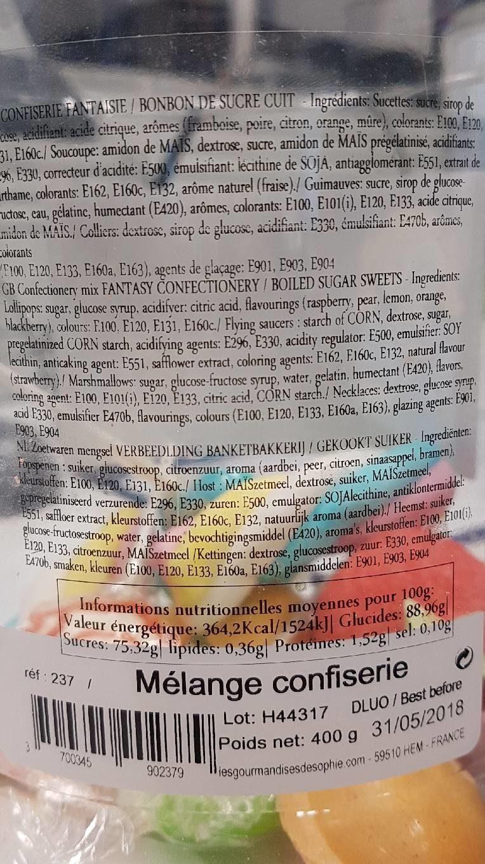 Bocal Mélange Confiserie 400 g - Informations nutritionnelles