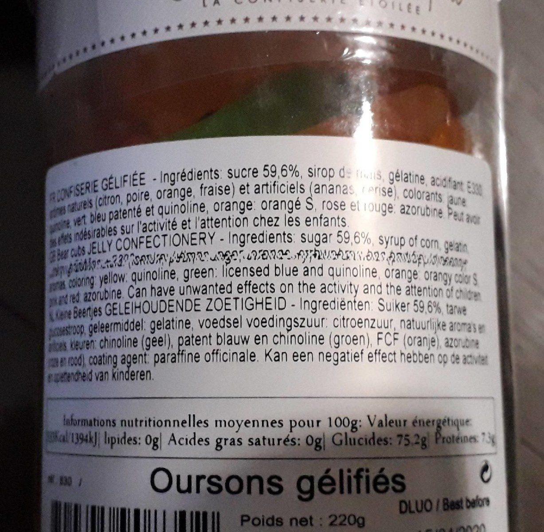 Mini Oursons Gélifiés - Ingrédients - fr