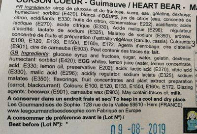 Ourson cœur - guimauve - Ingredients - fr