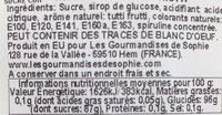 Sucette ronde spirale tutti frutti - Informations nutritionnelles - fr