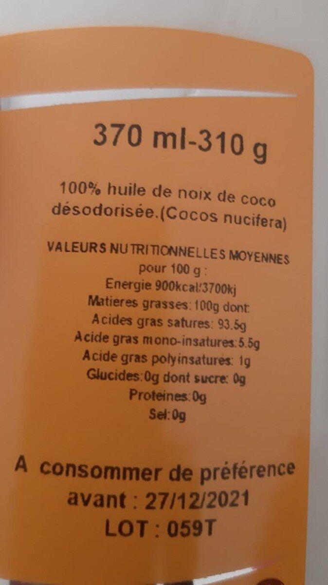Huile de noix de coco - Voedingswaarden - fr