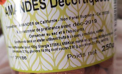 Amandes décortiquées sans sel - Ingrédients - fr