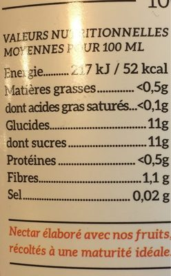 Nectar d'abricot - Informations nutritionnelles