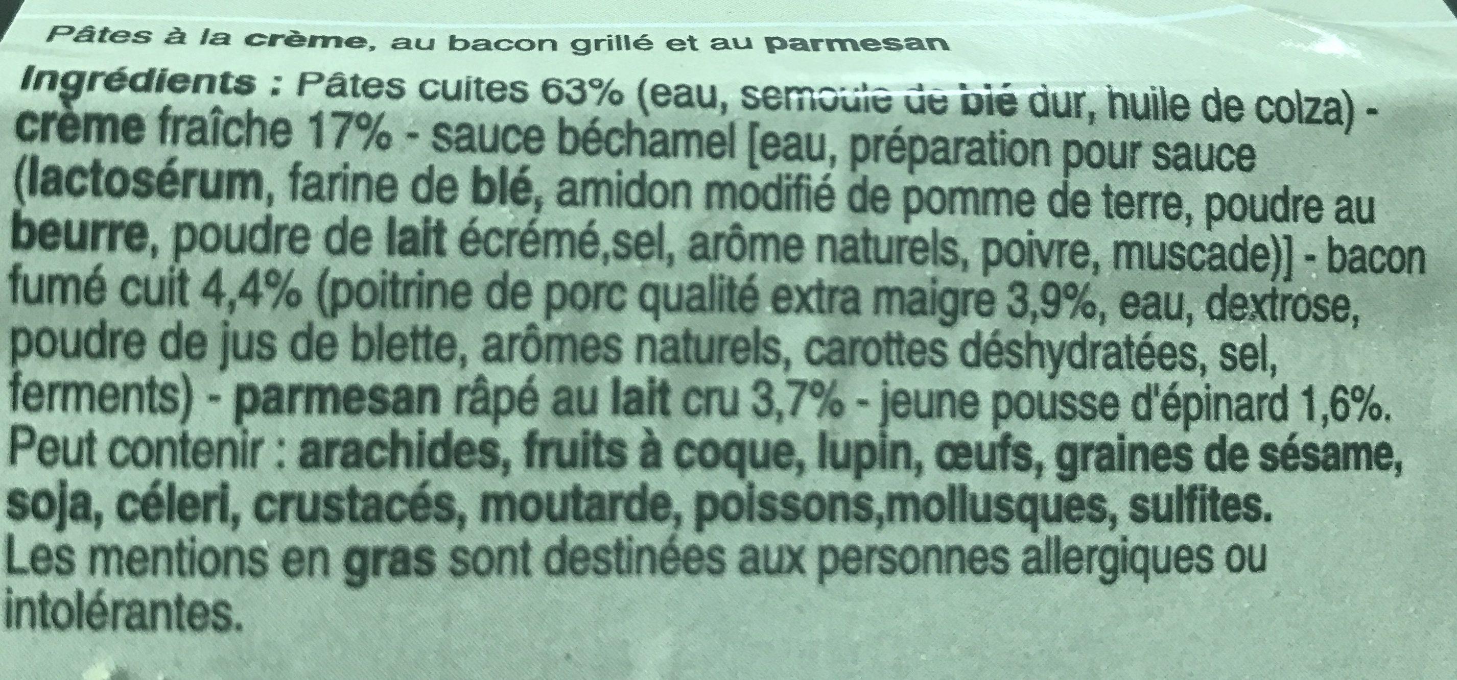 Pennes Bacon Parmesan Pousses D'epinards - Ingrédients - fr