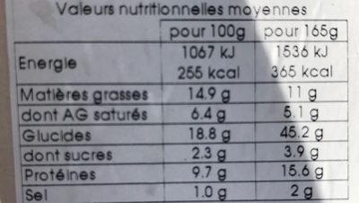 Sandwich Tomate Mozza - Nutrition facts