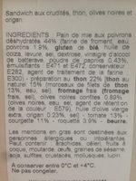 Club Thon Crudites Olives Noires Et Origan - Ingrédients - fr