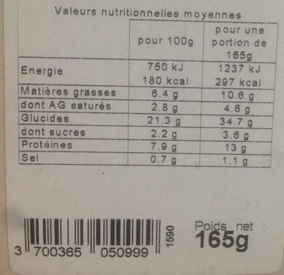 Club Thon Crudites Olives Noires Et Origan - Informations nutritionnelles - fr