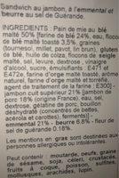 Club Jambon Sup. Emm. Beurre Sel De Guerande - Ingrédients - fr
