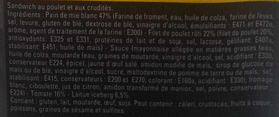 Club poulet crudités - Ingrédients - fr