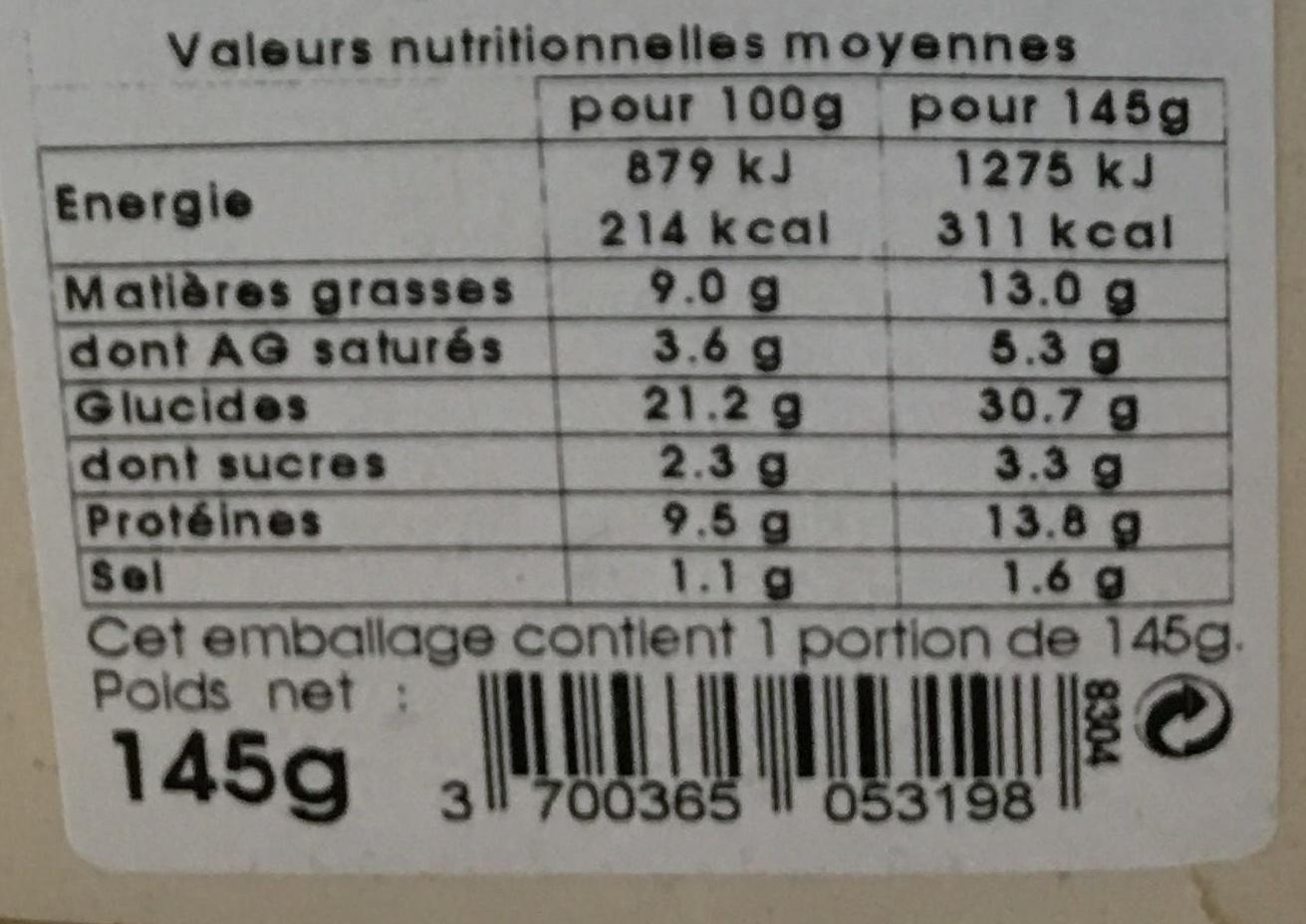 Sandwich poulet tomate sauce caesar - Informations nutritionnelles - fr