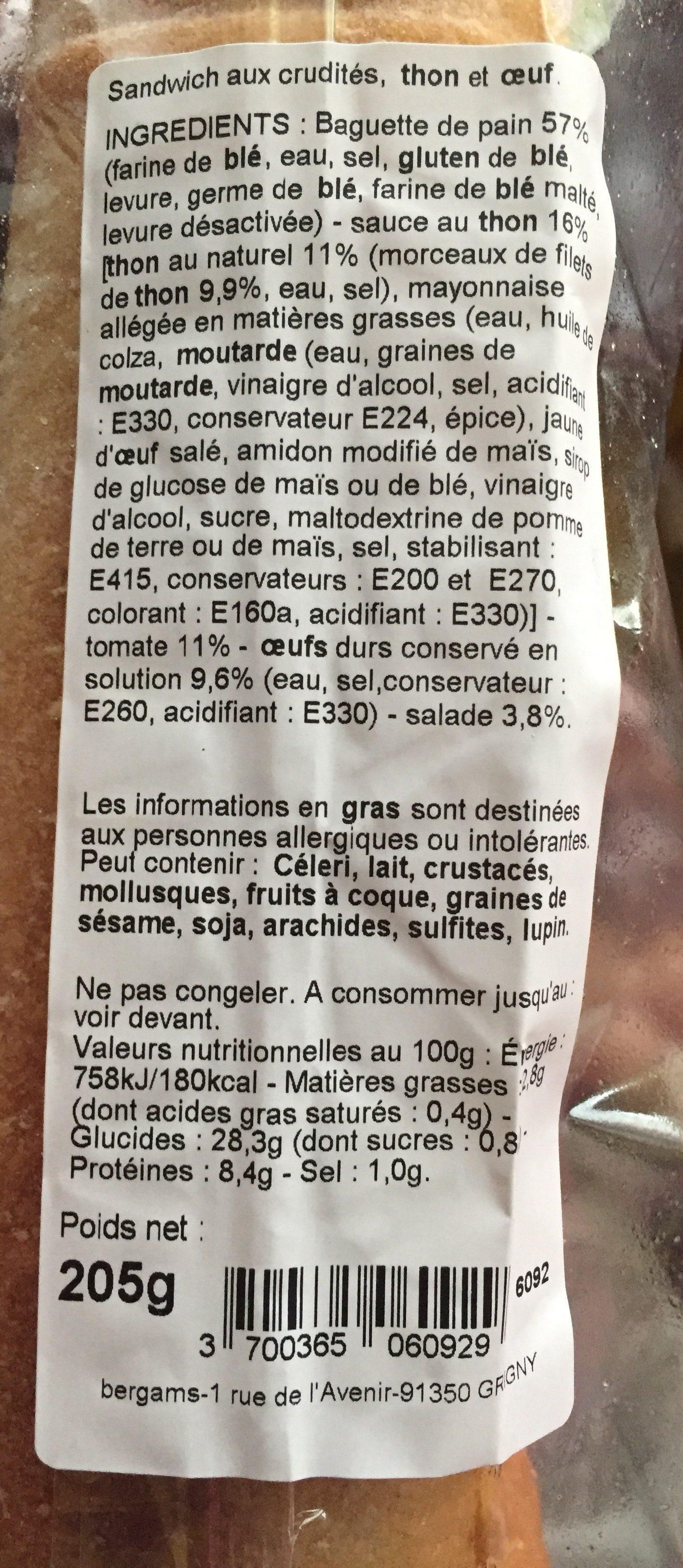 Baguette Thon Oeuf Crudites - Ingredients