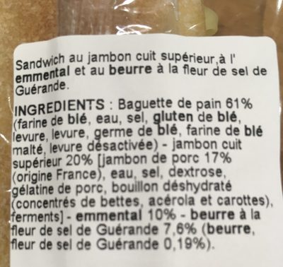 Baguette Rustique Jambon Beurre Sale Emmental - Ingredienti - fr