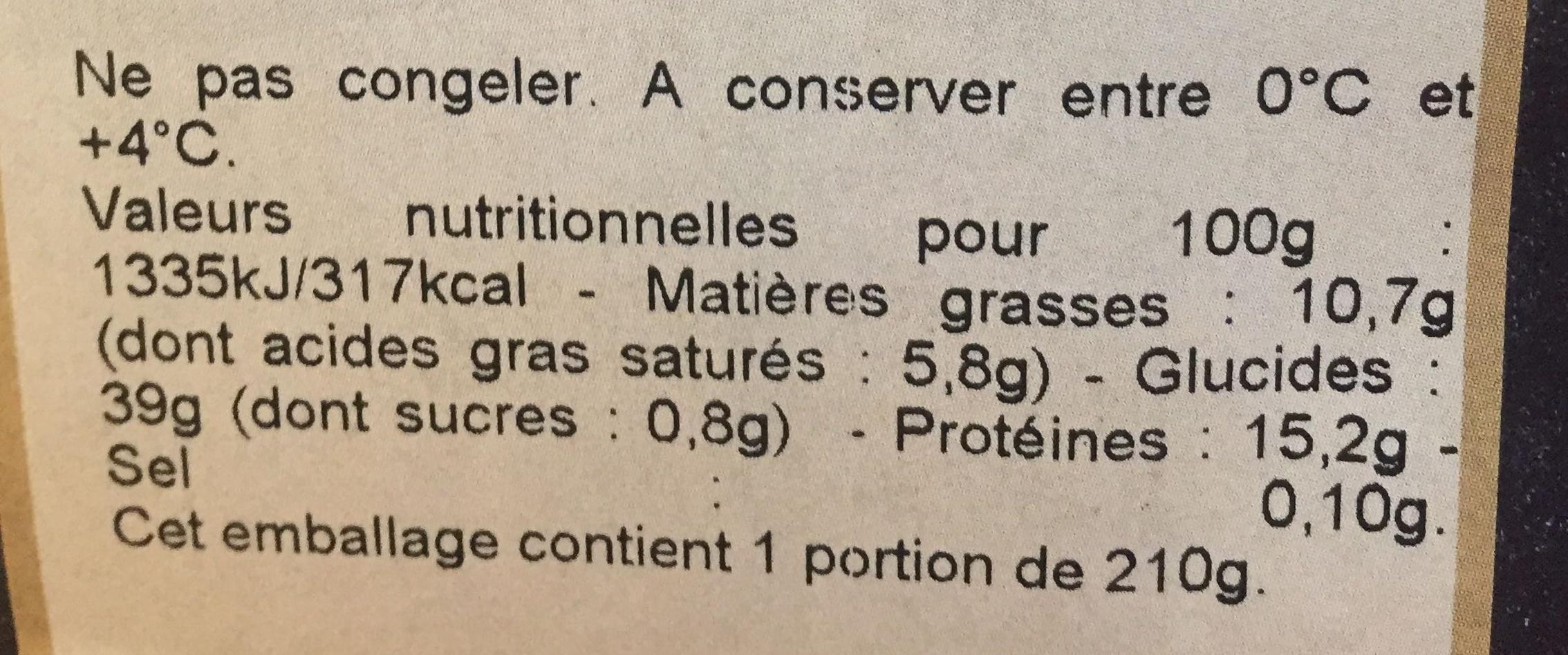Croque monsieur - Voedingswaarden - fr